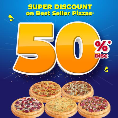 2 Best-Selling Pizza HEMAT 50%